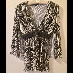 ♥️ Sky brand Zebra Cr/Dk bRown Kimono Blouse S 4-6